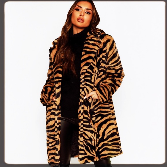 Tiger Print Fur Teddy Coat
